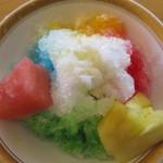 空桜 - シロップはいちご、メロン、ブルーハワイ、レモン、マンゴーの5種。中央にミルク。