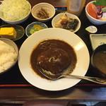 たまはん - たまはん定食@1200円 お刺身、ハンバーグ、焼魚、厚焼き卵、小鉢、サラダ、味噌汁、お新香、ごはん
