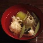 蕎麦 惠土 - そばがき(淡路の鱧と秋田の生蓴菜、瑞々しい冬瓜を合わせて)