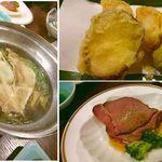東山 - 天ぷら、ローストビーフ、水菜と豚肉の一人鍋