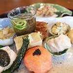 月見里 - H28/7 焼き茄子胡麻豆腐 穴子変り焼 スモークサーモン・ボール 桃胡桃和えなど