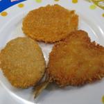 浅草肉店 - 料理写真:コロッケ、フィッシュ、ハムカツ
