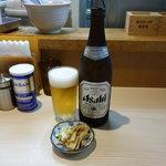 らー麺土俵 鶴嶺峰 - ビール(中瓶)500円 メンマとネギの肴はサービス2016.8