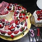 549229 - 特注誕生日ケーキ 31歳なので3と1の形になってます
