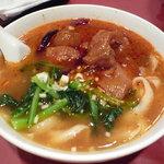 京華樓 - 四川風牛筋刀削麺(900円)♪唐辛子マーク1つ!でも汗が吹き出します!