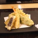 汐見 - 天ぷら 車海老、万願寺唐辛子、茄子