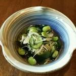 からふぇDINING - 茗荷 胡瓜 枝豆 若布の酢の物