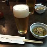 茅場町 長寿庵 - 2016年8月。生ビール(中)は600円。小は500円。