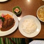 54936001 - Bランチ¥1,200                       エビフライ2尾、ハンバーグ、スープ、ライス、豆腐付き