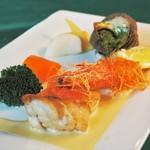 マ・メゾン - 金目鯛のポワレ、海老のカダイフ包み揚げ、サザエのブルギニョン