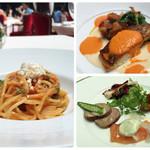 青山 エリュシオンハウス - 前菜、パスタ(トマトとリコッタチーズ)、メイン(真鯛のパプリカエスプーマ)