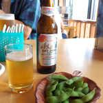 洞戸観光ヤナ - ノンアルコール・ドライゼロ(¥400)。ドライバーの必需品、枝豆美味しいですね~