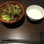 oufuuryouriyabisutora - ランチのサラダとスープ