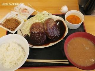 激安食堂 小林屋 - ダブルハンバーグ(240g)定食630円