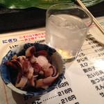 かっぱ寿司 - 焼酎ロック432円とお通し324円