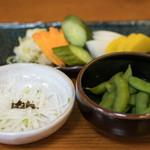 新宿うな鐵 - 2016.8 お通し(400円)、お新香(300円より)