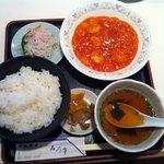 石川亭 - A定食 芝えびのチリソース煮