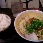 55017197 - 汁なし担々麺大盛温玉入り+ライス