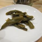 falo - おばんざい:インゲンのくたくた煮、カポナータ、かぼちゃのマリネ、小鯵のエスカベッシュ、豚のリエット2