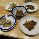 falo - おばんざい:インゲンのくたくた煮、カポナータ、かぼちゃのマリネ、小鯵のエスカベッシュ、豚のリエット1