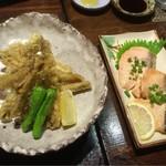 郷土料理・黒豚しゃぶ鍋・ぞうすい 八幡 - ゴボ天と鮭の西京焼き