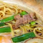 まゆみの店 - 鍋焼きラーメン 並(親鳥の肉)