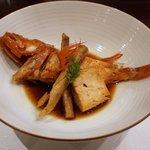 えさき - 北海道きんきの煮付け焼豆腐とゴボウ