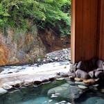 割烹旅館 湯の花荘 - 男性用露天風呂(2016年8月)