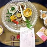 割烹旅館 湯の花荘 - 夕食(はじめに並んでいた料理)(2016年8月)