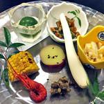 割烹旅館 湯の花荘 - 料理写真:夕食(葉月前菜盛り)(2016年8月)