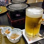 割烹旅館 湯の花荘 - 夕食(生ビール)(2016年8月)