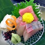 割烹旅館 湯の花荘 - 夕食(海鮮お造)(2016年8月)