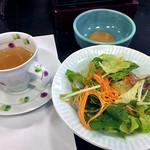 割烹旅館 湯の花荘 - 朝食(サラダ & オニオンスープ)(2016年8月)