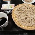 正覚 田中屋 - 十割そば。つゆも薬味も皿そばのものとは違います。