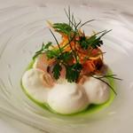 55068387 - シマアジのマリネ アホブランコ 野菜とディルのエスカベッチェ
