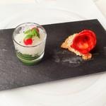 55068400 - トマトとバジリコのグラニテ&                       モルコンとイディアサバルのトースト