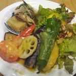 55076119 - ランチ:たまな定食(厳選の温野菜~塩麹バーニャカウダソース~、自家製厚揚げ 山芋 地海苔、テンペと有機野菜のサラダ~2種類の野菜のソースで~)