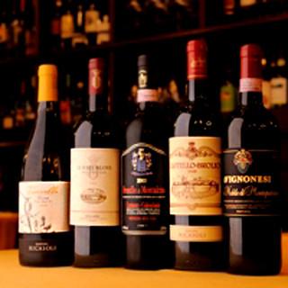 トスカーナワインを中心とした豊富なラインナップ