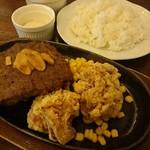 ツバサ食堂 - ステーキ&唐揚げ定食