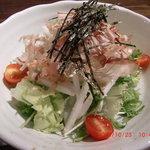 炭小屋 - 水菜、長芋のシャキシャキ感とサッパリ酸っぱい自家製梅ドレッシングがおいしい 「長芋の和風サラダ」