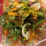 55097906 - 真鯛のカルパッチョ  〜イクラ・からすみ添え〜♪