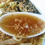 会津らーめん 磐梯山 - 出汁には、鶏がら・豚骨・昆布・煮干しに各種の香味野菜が使われているそうです。                             ラーメンスープというか、醤油味のおつゆといった和風を感じます。