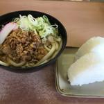 北九州駅弁当 ぷらっとぴっと 4号売店 - かしわうどんとおにぎり白