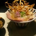 鶏Soba 座銀 にぼし店 - にぼし吟醸nigori¥850+鶏込み飯(小)¥150※ランチは唐揚げ1個サービス