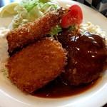 洋食屋グリルCoCCo - Aセット(大エビフライ・合挽バーグ・コロッケ)