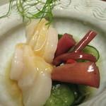 55165174 - 帆立貝柱と芋茎の酢の物