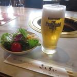 常陸牛きくすい - 常陸牛ステーキセット(サラダ) 生ビールグラス