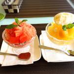 ソレイユカフェ - スイカ丸ごと削ってかき氷に!