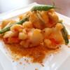 大海老とマコモ茸の塩漬けアヒルの卵 黄金炒め