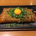 やきやき鉄板グリル ひまわり - 元祖三津浜焼き 780円+ねぎ月見(上のせ)150円